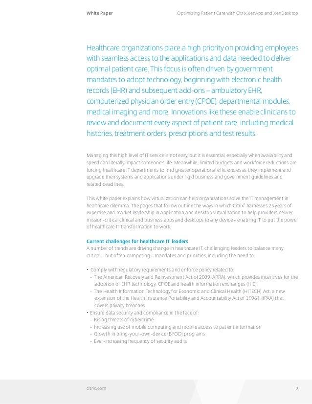 Optimizing patient care with Citrix XenApp & XenDestop