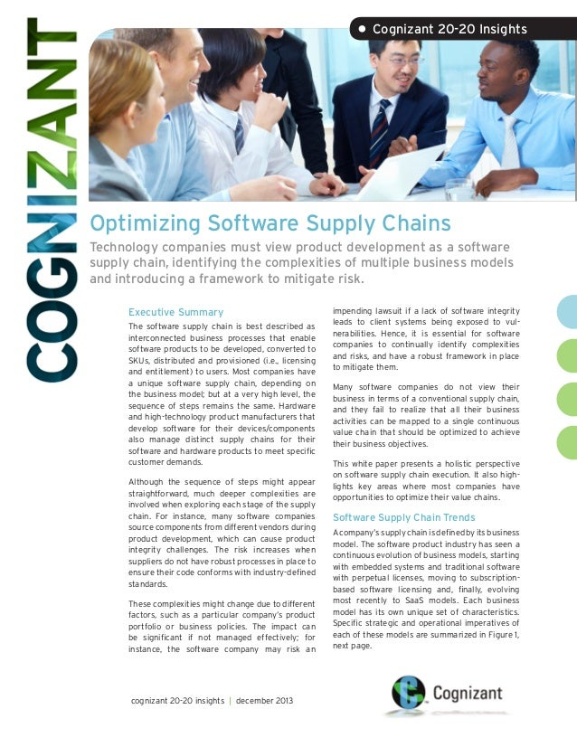 • Cognizant 20-20 Insights  Optimizing Software Supply Chains Technology companies must view product development as a soft...