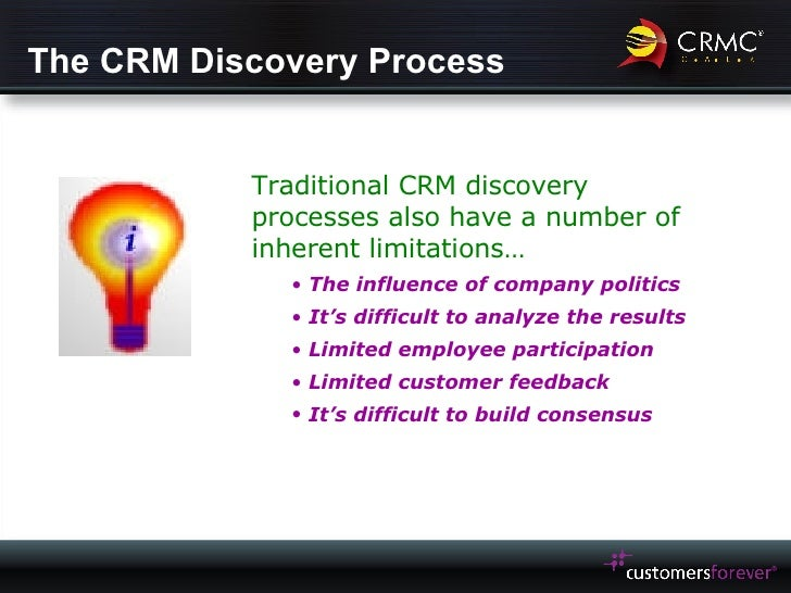 The CRM Discovery Process <ul><li>Traditional CRM discovery processes also have a number of inherent limitations… </li></u...