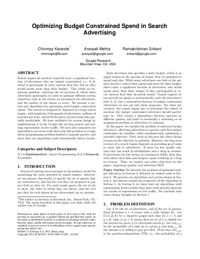 Optimizing Budget Constrained Spend in Search                               Advertising                                   ...