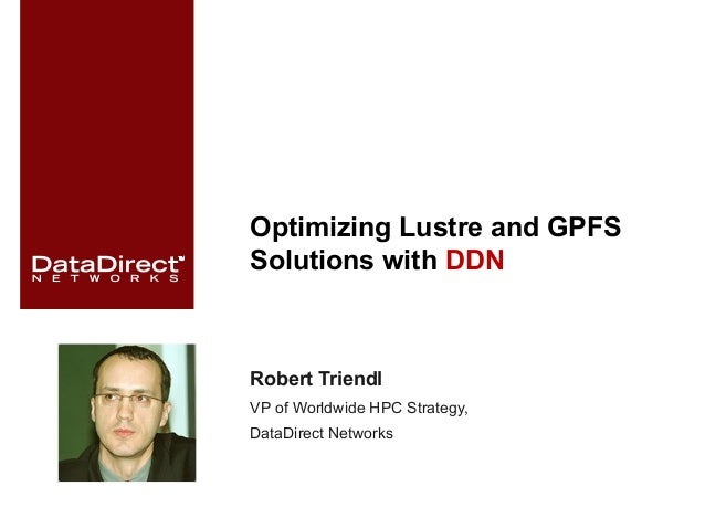 Optimizing Lustre and GPFS Solutions with DDN Robert Triendl VP of Worldwide HPC Strategy, DataDirect Networks