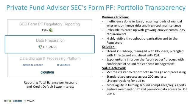Private Fund Adviser SEC's Form PF: Portfolio Transparency Data Storage & Processing Platform Data Preparation SEC Form PF...