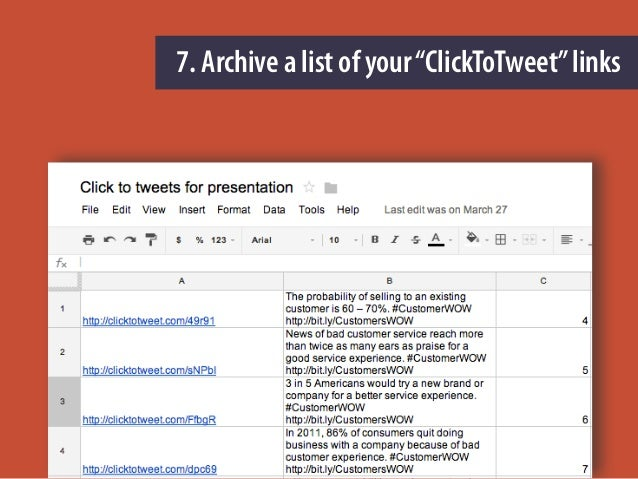 "7. Archive a list of your""ClickToTweet""links"