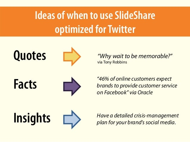 """Ideas of when to use SlideShare optimized forTwitter Quotes Facts Insights """"Why wait to be memorable?"""" via Tony Robbins """"4..."""