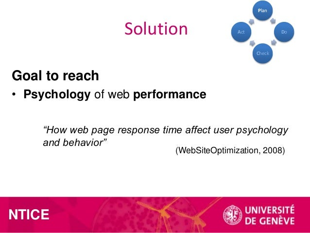 """Plan  Solution  Act  Do  Check  Goal to reach • Psychology of web performance """"How web page response time affect user psyc..."""