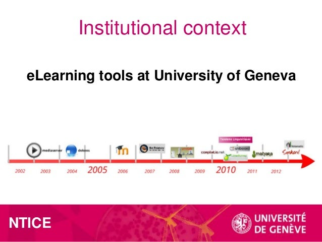 Institutional context eLearning tools at University of Geneva  NTICE