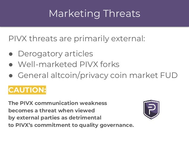 PIVX threats are primarily external: ● Derogatory articles ● Well-marketed PIVX forks ● General altcoin/privacy coin marke...
