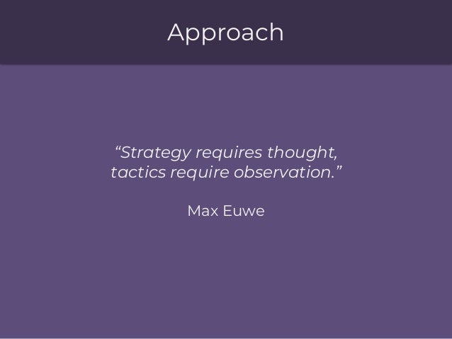 """Approach """"Strategy requires thought, tactics require observation."""" Max Euwe"""
