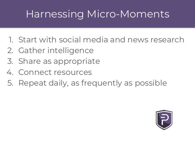 Harnessing Micro-Moments 1. Start with social media and news research 2. Gather intelligence 3. Share as appropriate 4. Co...