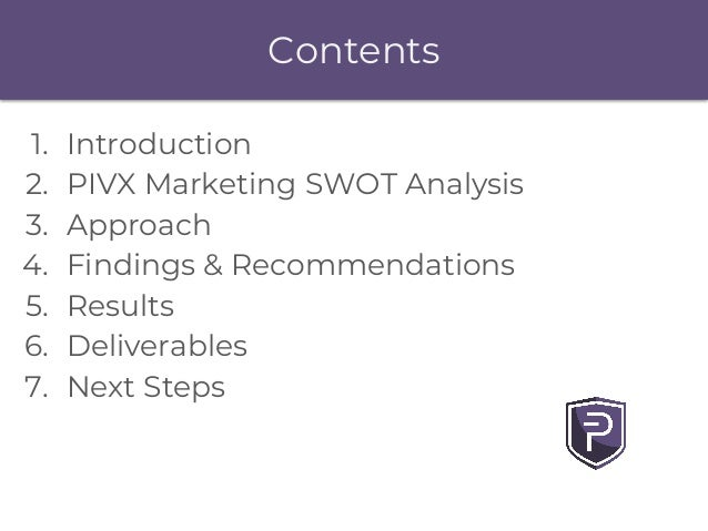 1. Introduction 2. PIVX Marketing SWOT Analysis 3. Approach 4. Findings & Recommendations 5. Results 6. Deliverables 7. Ne...