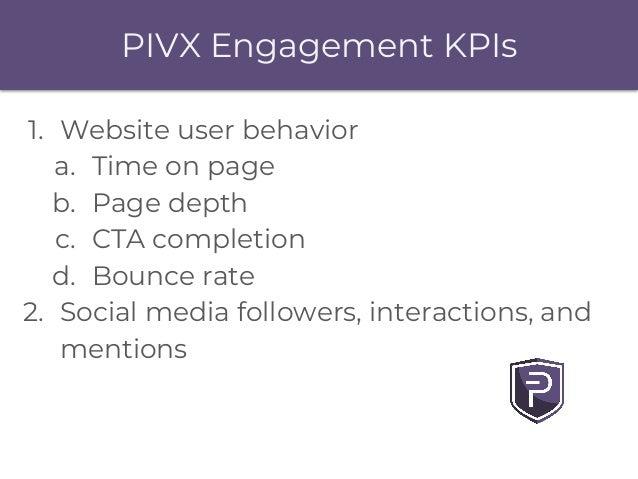 PIVX Engagement KPIs 1. Website user behavior a. Time on page b. Page depth c. CTA completion d. Bounce rate 2. Social med...