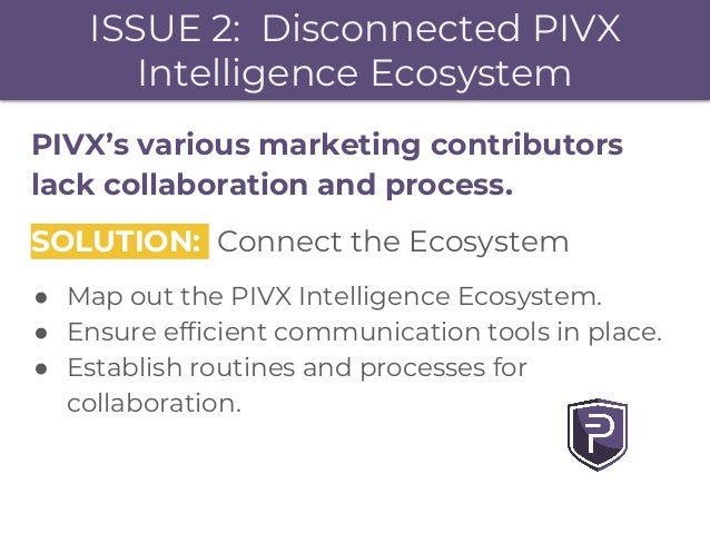 ISSUE 2: Disconnected PIVX Intelligence Ecosystem PIVX's various marketing contributors lack collaboration and process. SO...