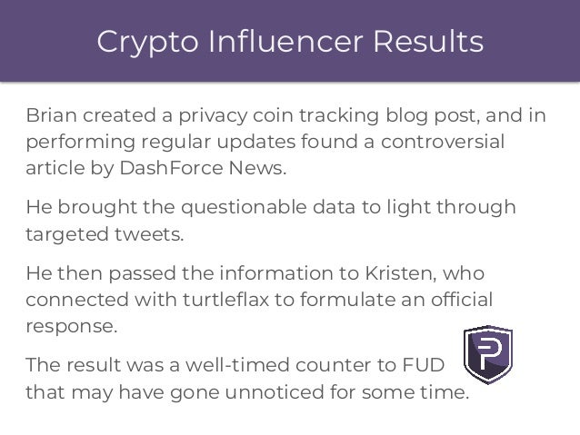 Crypto Influencer Results Brian created a privacy coin tracking blog post, and in performing regular updates found a contr...