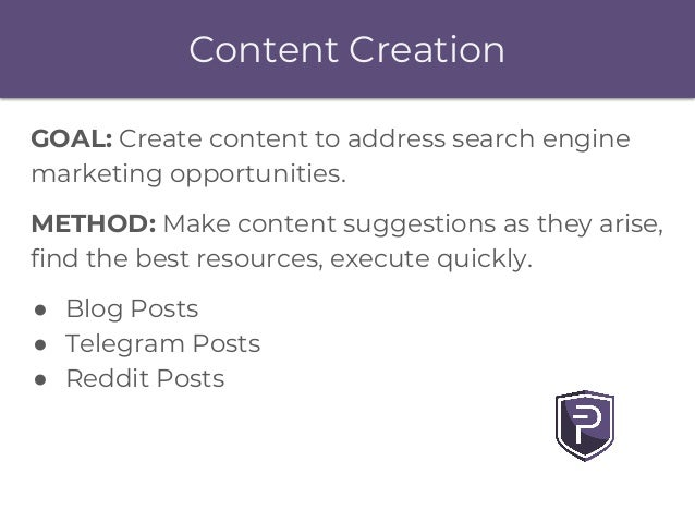 Content Creation GOAL: Create content to address search engine marketing opportunities. METHOD: Make content suggestions a...