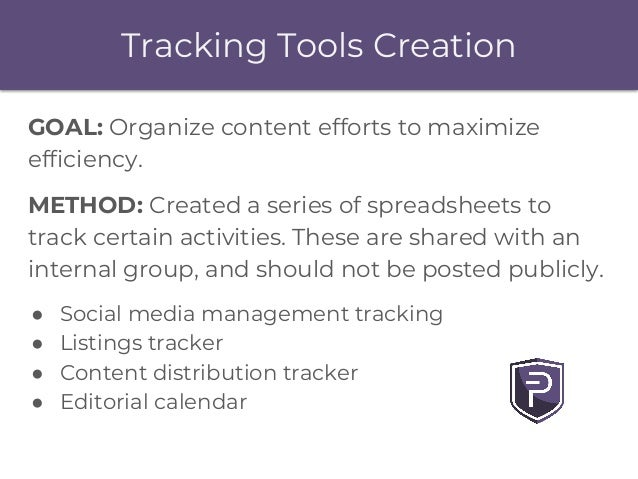 Tracking Tools Creation GOAL: Organize content efforts to maximize efficiency. METHOD: Created a series of spreadsheets to...