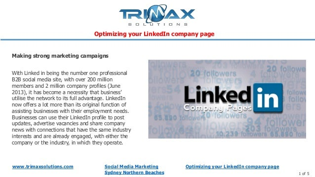 www.trimaxsolutions.com Social Media MarketingSydney Northern Beaches 1 of 5With Linked in being the number one profession...