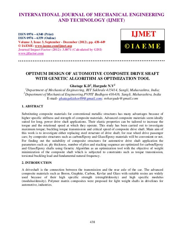 INTERNATIONAL JOURNAL OF MECHANICAL ENGINEERING International Journal of Mechanical Engineering and Technology (IJMET), IS...