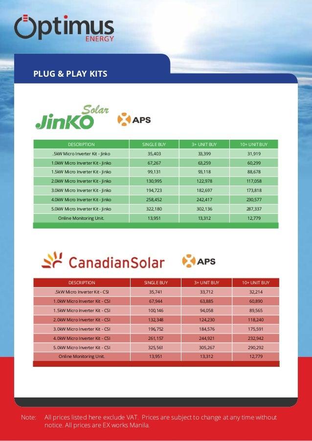 Optimus Energy Philippines Feb 2015 Price List