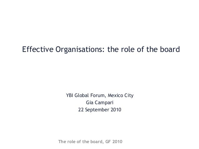 Effective Organisations: the role of the board YBI Global Forum, Mexico City Gia Campari 22 September 2010 The role of the...