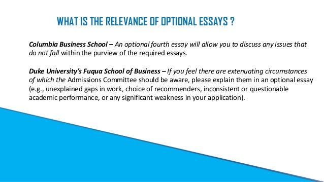 Optional Essay - Personal Characteristic
