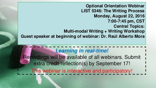 Optional Orientation Webinar LIST 5346: The Writing Process Monday, August 22, 2016 7:00-7:45 pm, CST Central Topics: Mult...