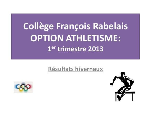 Collège François Rabelais OPTION ATHLETISME: 1er trimestre 2013 Résultats hivernaux