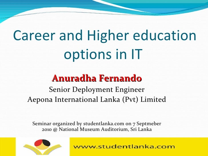 Higher education and career options in IT, Computer Science after A/L