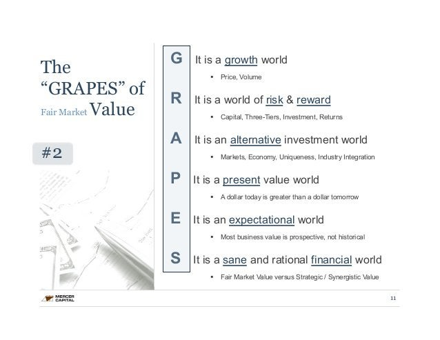 """The  """"GRAPES"""" of  Fair Market Value  #2  G It is a growth world  § Price, Volume  R It is a world of risk & reward  § Ca..."""