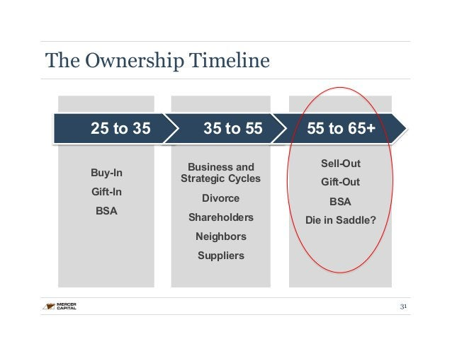 25 to 35 35 to 55 55 to 65+  Buy-In  Gift-In  BSA  Business and  Strategic Cycles  Divorce  Shareholders  Neighbors  Suppl...