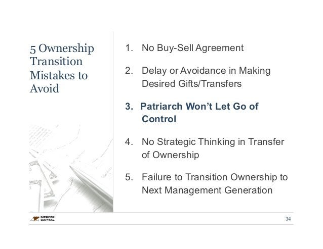 5 Ownership  Transition  Mistakes to  Avoid  1. No Buy-Sell Agreement  2. Delay or Avoidance in Making  Desired Gifts/Tran...