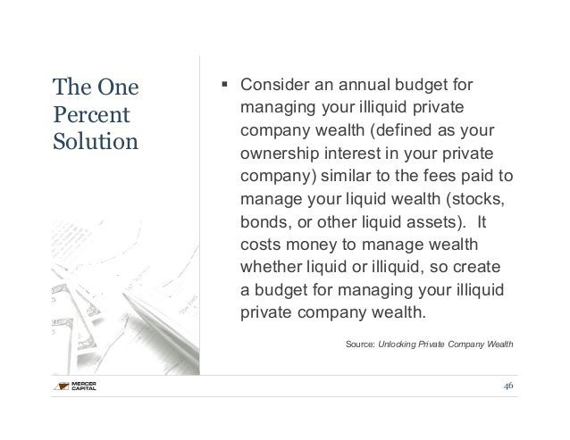The One  Percent  Solution  § Consider an annual budget for  managing your illiquid private  company wealth (defined as y...