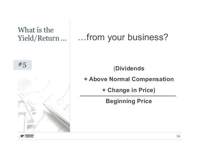 …from your business?  (Dividends  + Above Normal Compensation  + Change in Price)  Beginning Price  54  What is the  Yield...