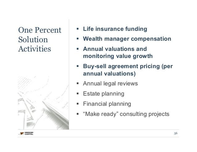 One Percent  Solution  Activities  § Life insurance funding  § Wealth manager compensation  § Annual valuations and  mo...