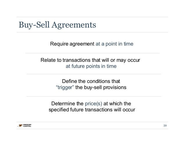 Buy-Sell Agreements  Require agreement at a point in time  Relate to transactions that will or may occur  at future points...