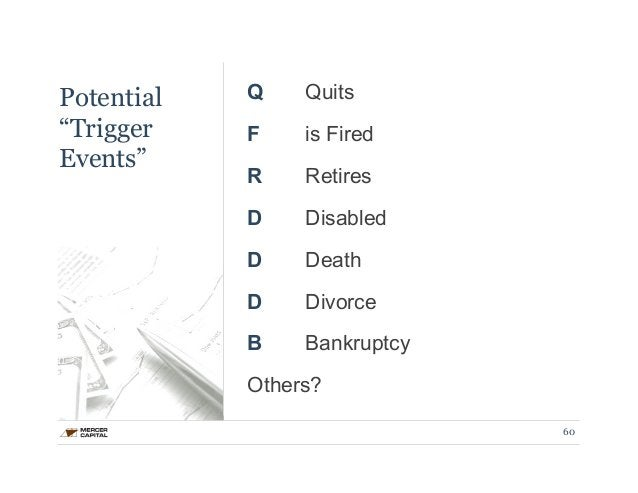 """Potential  """"Trigger  Events""""  Q Quits  F is Fired  R Retires  D Disabled  D Death  D Divorce  B Bankruptcy  Others?  60"""