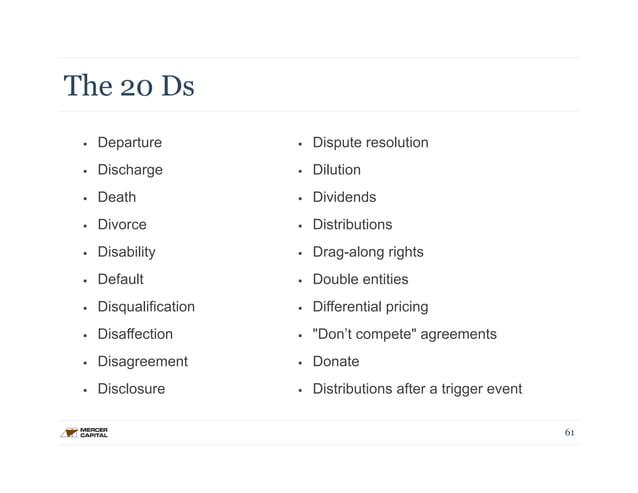The 20 Ds  § Departure  § Discharge  § Death  § Divorce  § Disability  § Default  § Disqualification  § Disaffecti...