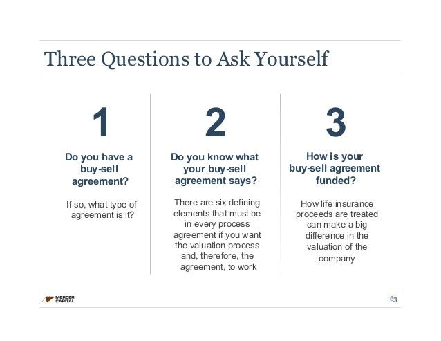 Three Questions to Ask Yourself  1 2 3  Do you have a  buy-sell  agreement?  If so, what type of  agreement is it?  Do you...