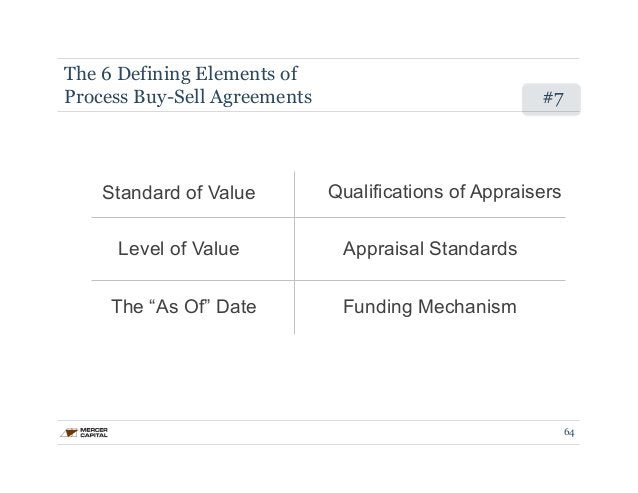 The 6 Defining Elements of  Process Buy-Sell Agreements #7  Standard of Value Qualifications of Appraisers  Level of Value...