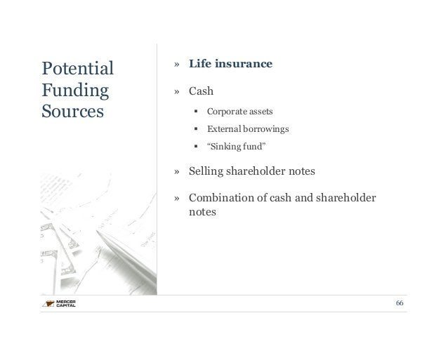 """Potential  Funding  Sources  » Life insurance  » Cash  § Corporate assets  § External borrowings  § """"Sinking fund""""  » S..."""