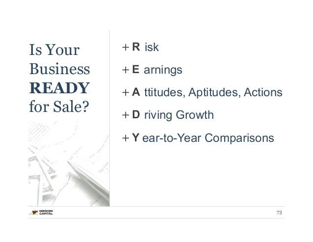 Is Your  Business  READY  for Sale?  + R  + E  + A  + D  + Y  isk  arnings  ttitudes, Aptitudes, Actions  riving Growth  e...