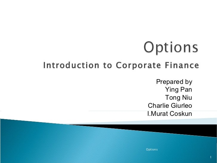 Introduction to Corporate Finance Options Prepared by Ying Pan Tong Niu Charlie Giurleo I.Murat Coskun
