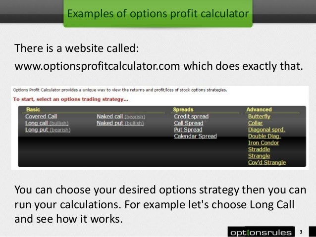 Options profit calculator online