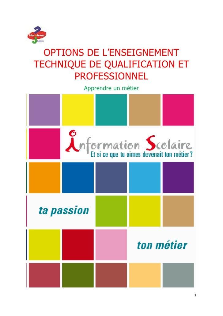 OPTIONS DE L'ENSEIGNEMENTTECHNIQUE DE QUALIFICATION ET       PROFESSIONNEL         Apprendre un métier                    ...