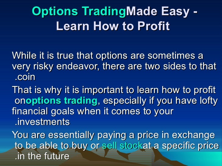 How to easily learn to trade options