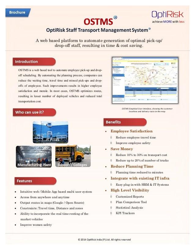 OptiRisk Staff Transport Management System (OSTMS) - Brochure
