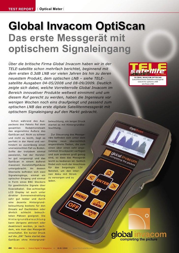TEST REPORT                   Optical Meter     Global Invacom OptiScan Das erste Messgerät mit optischem Signaleingang Üb...