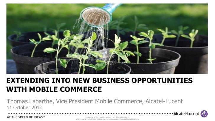 EXTENDING INTO NEW BUSINESS OPPORTUNITIESWITH MOBILE COMMERCEThomas Labarthe, Vice President Mobile Commerce, Alcatel-Luce...