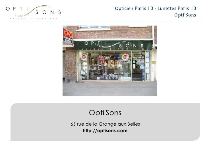 Opticien à Paris 10 - Opti'sons