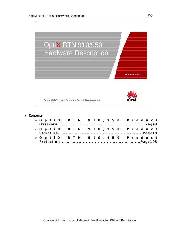 OptiX RTN 910/950 Hardware Description                                                                          P-0       ...
