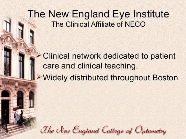 The New England Eye Institute Innovative Clinical Programs   Homeless Service  Low vision and Geriatrics Service  Pedia...